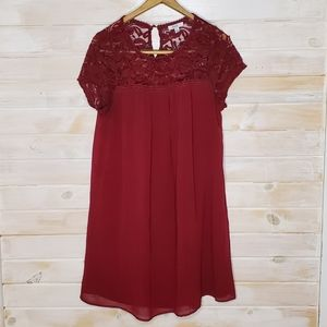 AUW Dress Lace Chest Short Sleeved